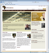 Screenshot of African DNA homepage