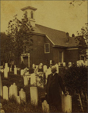 Reverend Jehu Curtis Clay in front of Gloria Dei Church in Philadelphia. Circa 1860.