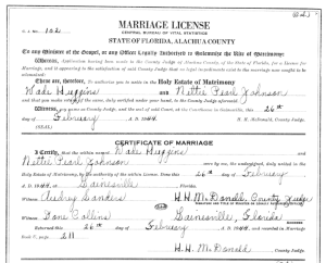 Florida marriage certificate
