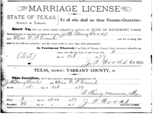Texas marriage license