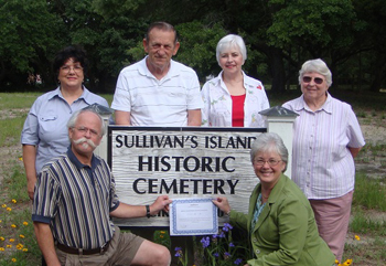 Sullivan's Historic Cemetery Association. Pictured: Rovena Owens, Ed Huff, Jeanie Heath, Louise Huff, Clay Martin, Linda Smith. Not Pictured: William Wood, Linda Gambrell, Father McInerny