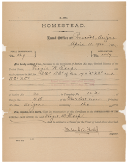 Certificate of a Homestead in Prescott, AZ, April 11, 1900. NARA