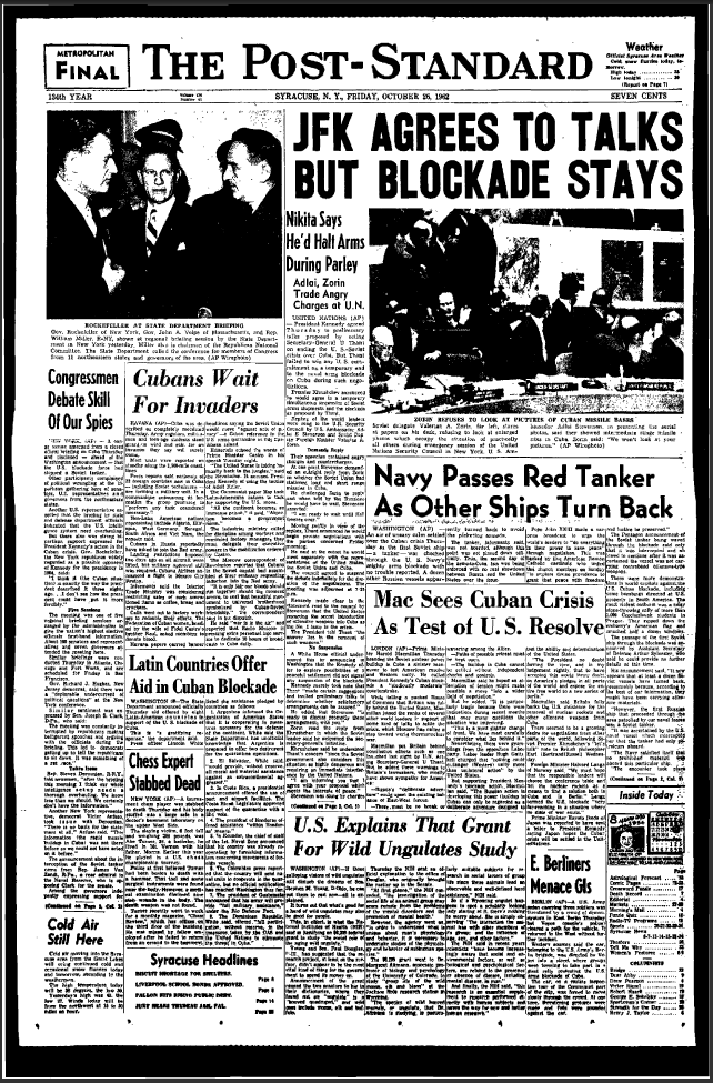 Cuban Missile Crisis newspapers