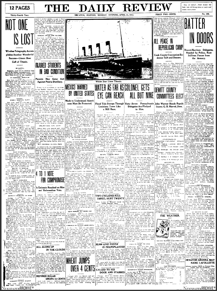 titanic newspaper articles